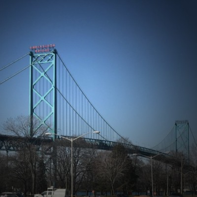 Ambassador Bridge from Windsor, ON
